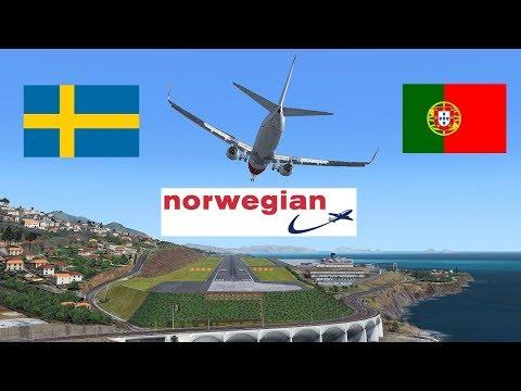 [FSX SE] Full flight LiveStream   Virtual Norwegian PMDG 737 NGX   ESSA Stockholm - LPMA Madeira