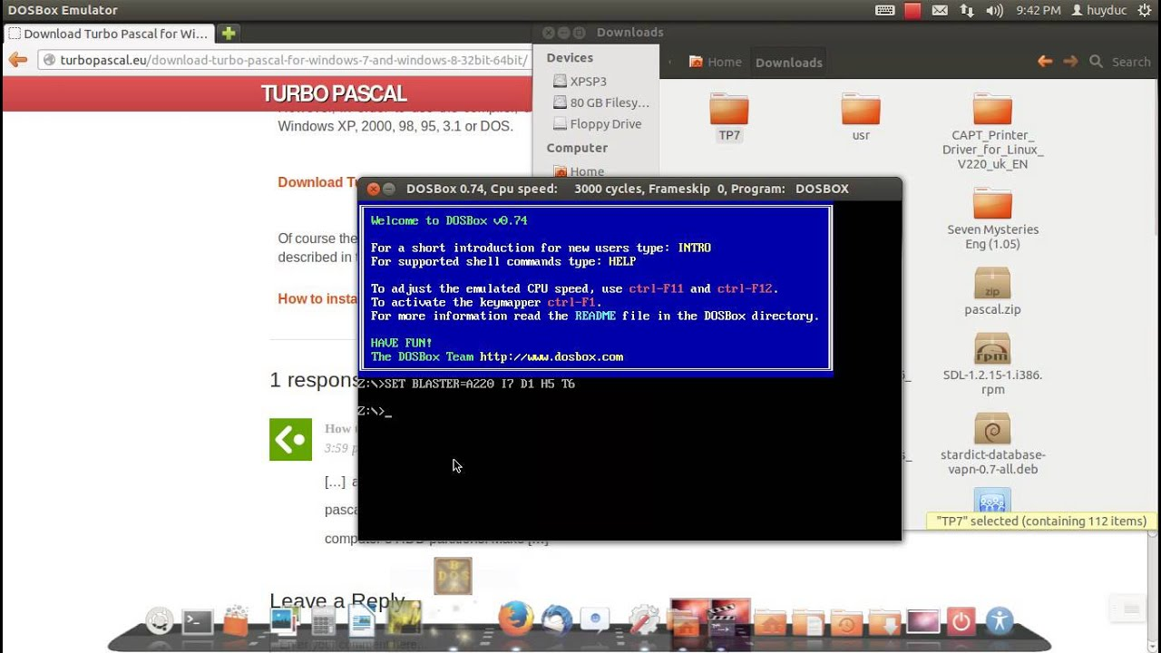 How to run Turbo Pascal on Linux (Mac)