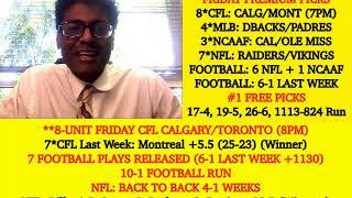 NFL Week 3 Picks and College Football Week 4 Predictions, Odds (09-20-19), 8*CFL Today (7pm)