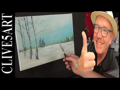 Winter Birch Trees | Acrylic painting for beginners | #clive5art