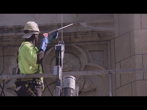 Cleaning historic masonry at Topeka High School