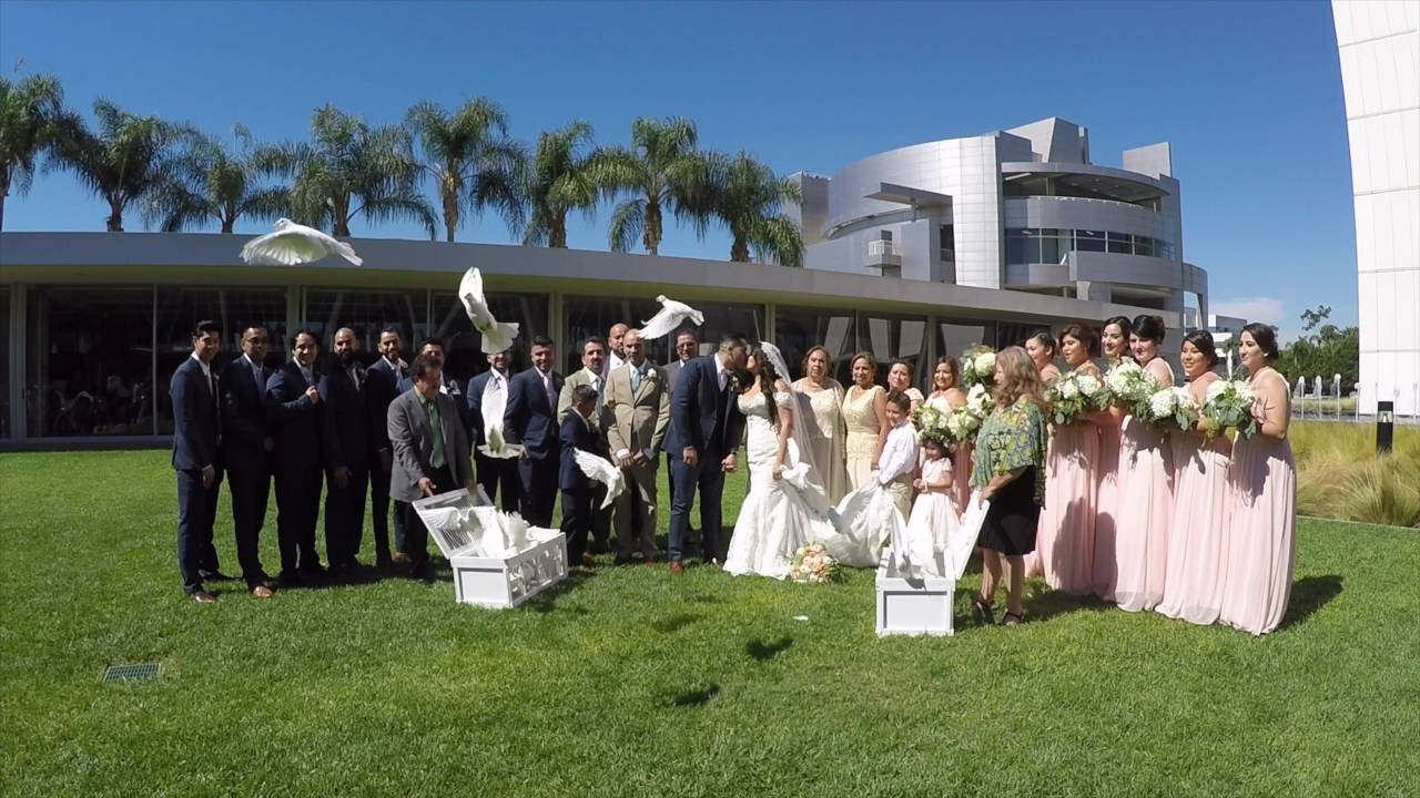 christ cathedral wedding doves