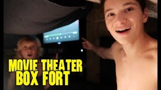 EPIC MOVIE THEATER BOX FORT!!! (OVERNIGHT)