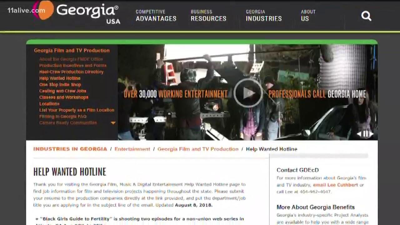 Georgia org has a help wanted hotline for movie jobs