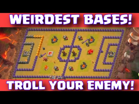 Clash Of Clans FUNNIEST BASE LAYOUTS | WEIRDEST TROLL BASES In CoC