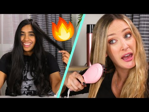 Women Try Cheap Vs. Expensive Straightening Brushes