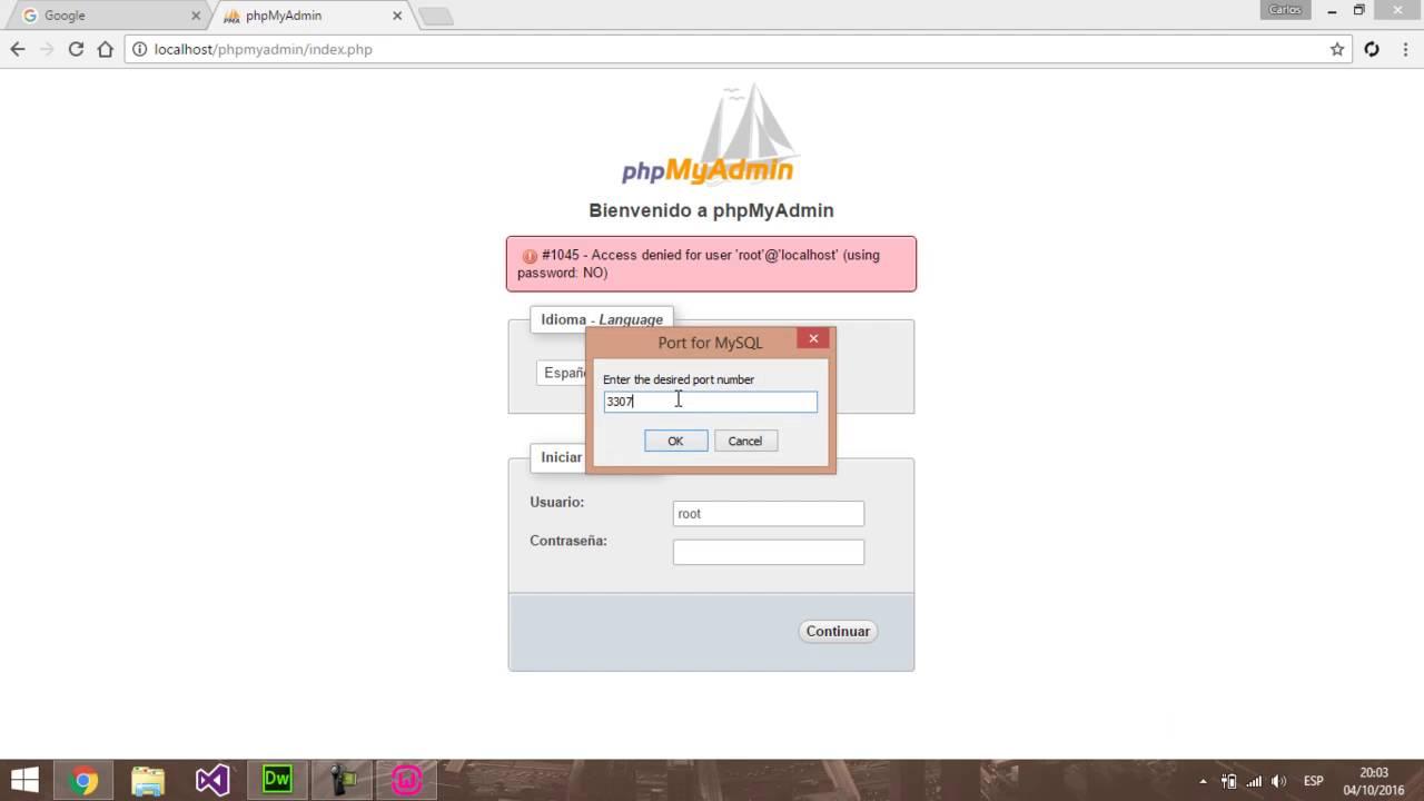 Phpmyadmin2016 - Wampserver Error 1045 Acceso Denegado Solucion
