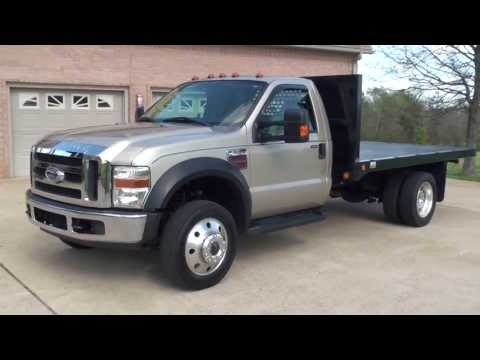 HD VIDEO 2008 FORD F550 XLT 4X4 6-SPEED FLAT BED USED TRUCK DIESEL FOR SALE SEE WWW.SUNSETMILAN.COM