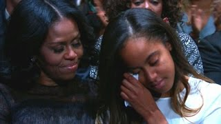 Malia Obama tears up during Obama