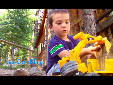 Construction Trucks for Kids - JackJackPlays Tahoe Vacation 1 - Bulldozer Dump Truck Backhoe