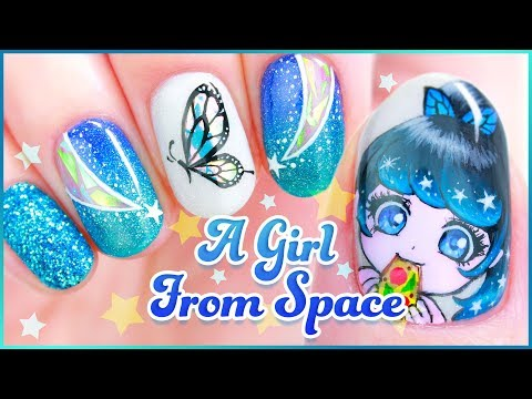 ☆ Original Character Nail Art - A Girl From Space ☆