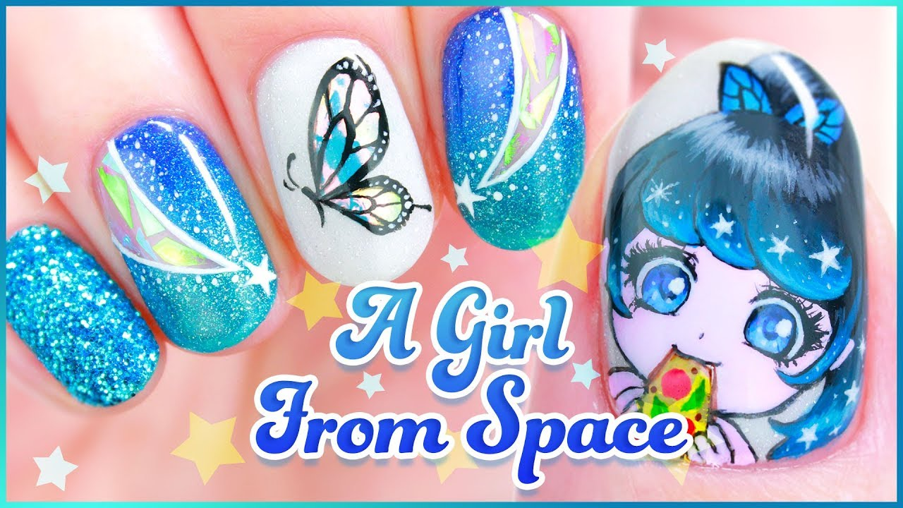 Original Character Nail Art A Girl From Space Youtube