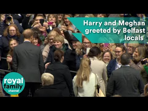 Prince Harry and Meghan Markle greeted by hundreds of Belfast locals