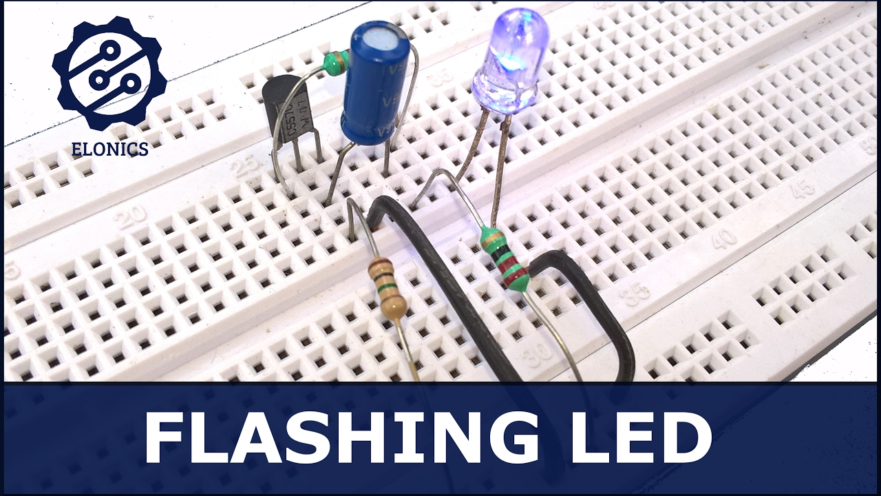 simple flashing led circuit using transistors [ 1280 x 720 Pixel ]