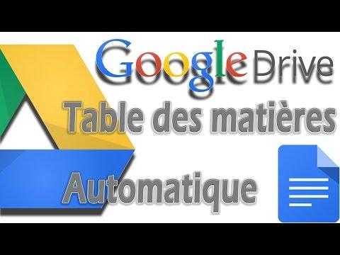 Comment faire un sommaire / table des matières automatique (GDocs)