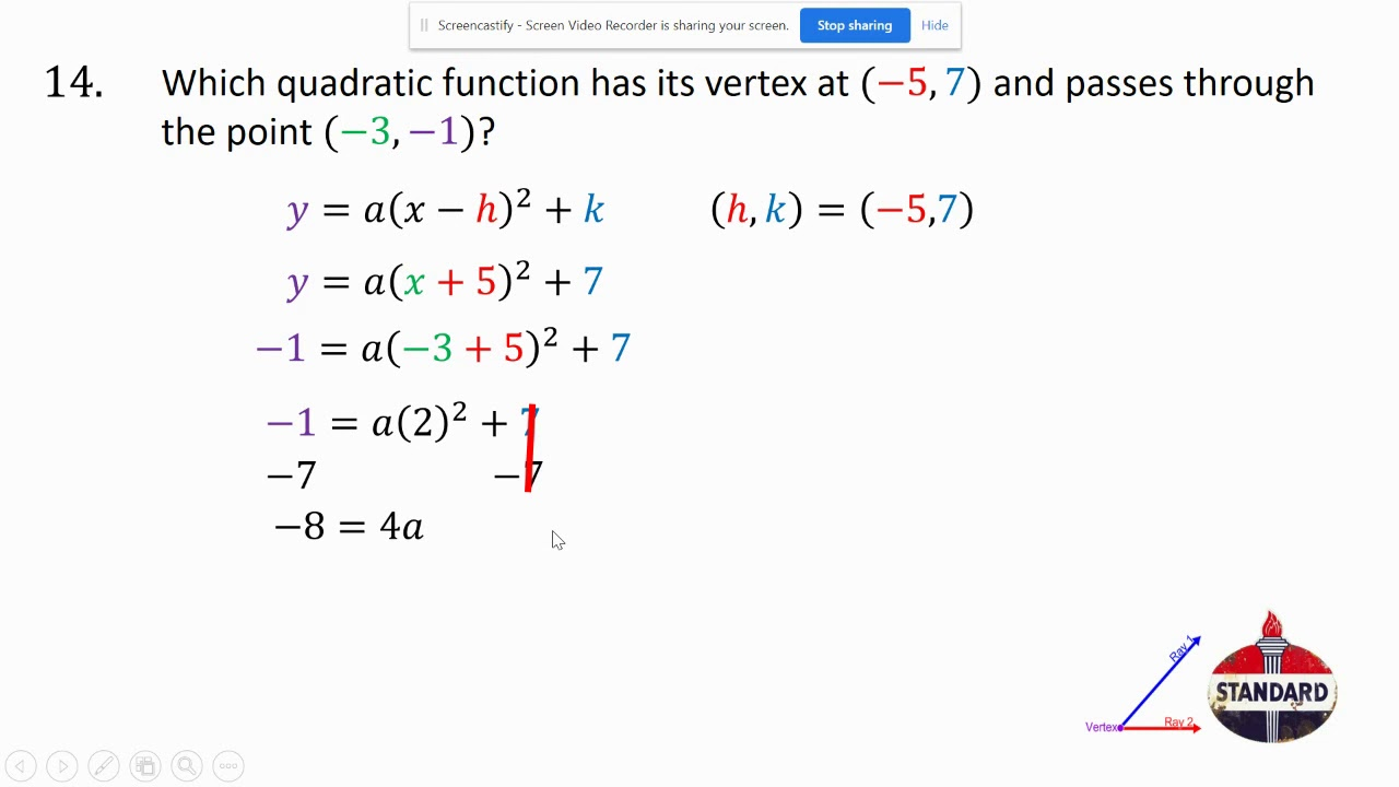 write quadratic equations given points tr 14 and 15  youtube