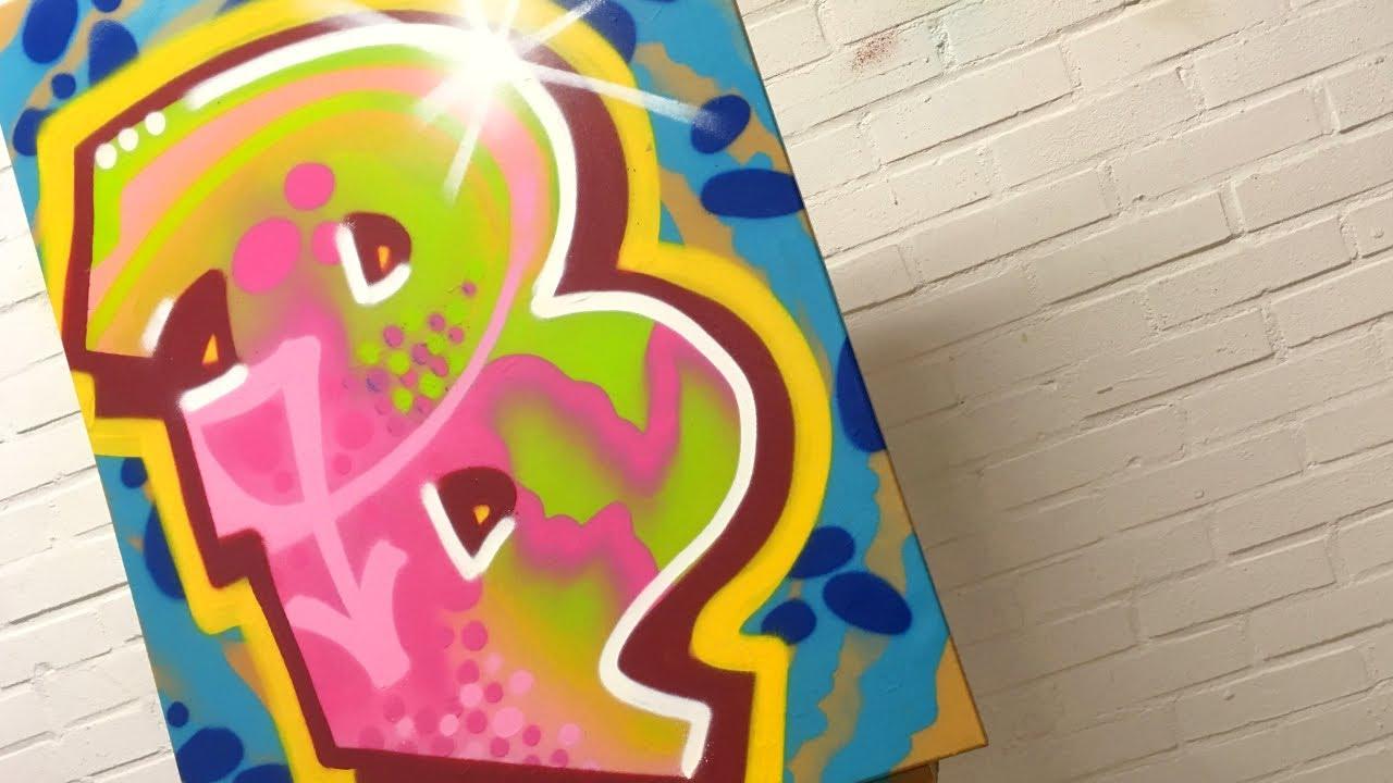 Graffiti Letter B Alphabet On Canvas With Spray Paint