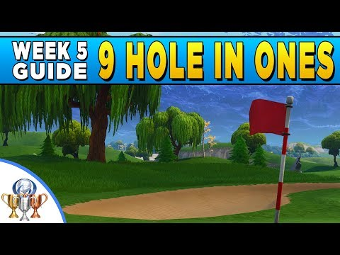 Fortnite Golf - Hit a golf ball from tee to green on different holes - Hole in One on ALL 9 Tees