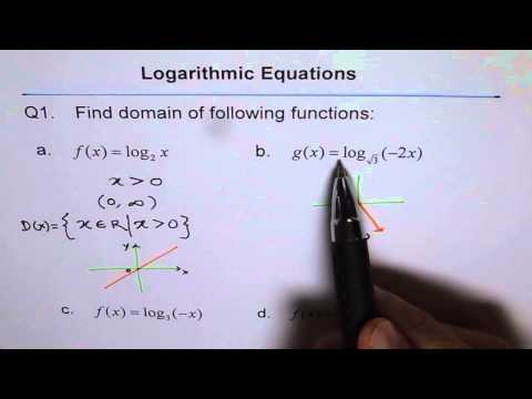 Find Domain of Logarithmic Function Q1