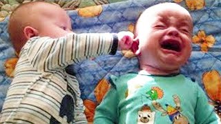 Cute Twins Baby Playing and Laughing Together  - Funny Twins Baby Video
