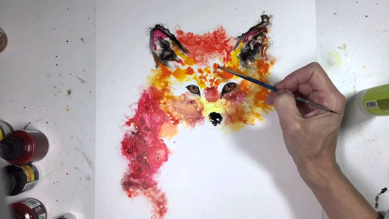 Speed painting a fox using acrylic and india inks on yupo for Easy acrylic animal paintings