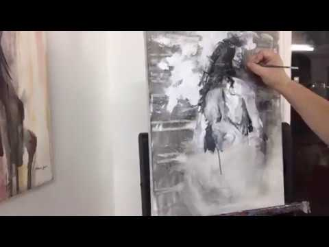 Démonstration Peinture Acrylique Femme Gris Moderne Spatule Splatter