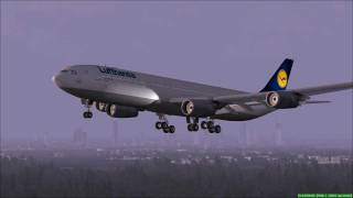 FS2004 - Landing at Airport Frankfurt / Main (Germany) with Lufthansa A340.mp4