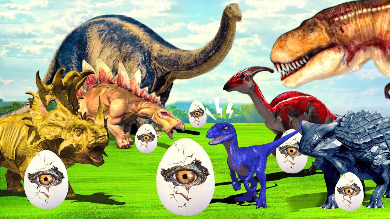 Dinosaurs Eggs lost & Giant T-Rex   Jurassic Park & GIANT LIFE SIZE DINOSAUR for kids Jurassic World