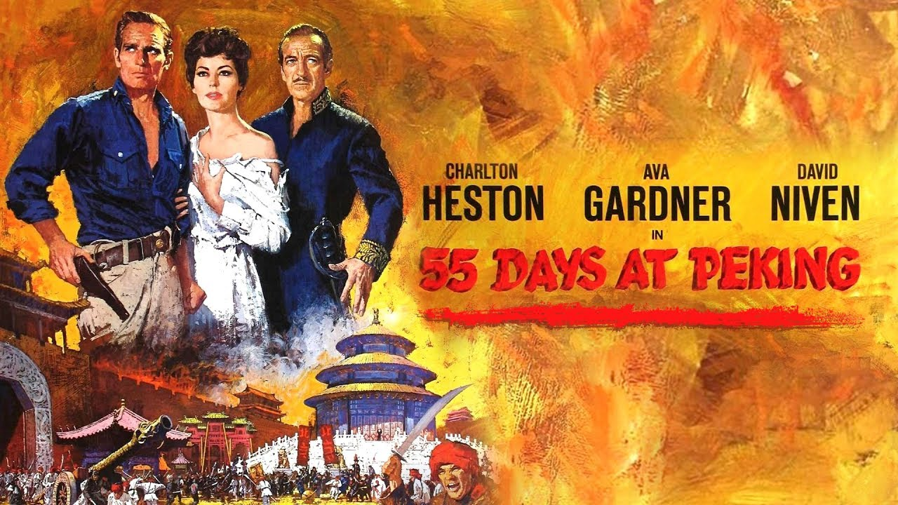 Image result for 55 days at peking movie poster