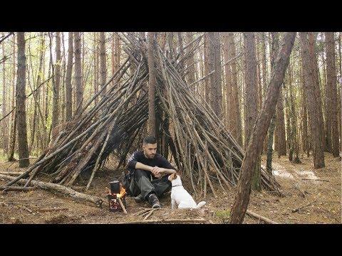 Bushcraft Camp Shelter - Campfire, Long Hike with my Dog, Folding Wood Stove