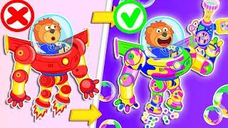 Aslan #7 Resmi Kanal   Demir Robot Ailesi. İçin gökkuşağı Kabarcıklar | Karikatür Çocuklar