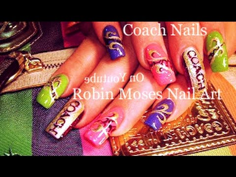 Coach Bag Nails Colorful Designer Nail Art Design Tutorial Youtube