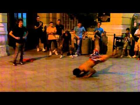 Breakdancing street performers in Sarajevo