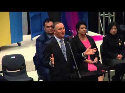 John Key speaks to MHS Year 12 students, August 2015