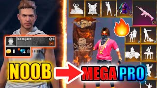 Free Fire new account to *PRO* challenge - look how became😱🔥 noob to pro