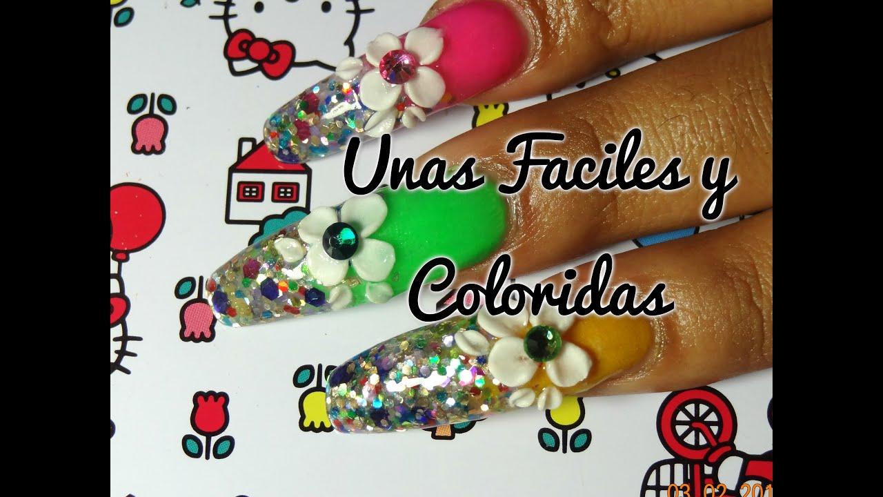 Diseno Unas Faciles y Coloridas con flor 3D/EasyColorful Nail Design ...