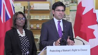 Ontario is aiming to create safe zones around abortion clinics and the homes of staff who provide the service. Attorney General Yasir Naqvi said Wednesday the move will ensure women have ?free access? to the clinics. (The Canadian Press)