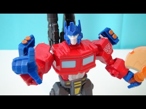 TRANSFORMERS OPTIMUS PRIME HERO MASHERS PLAYSET BUILD VIDEO TOY REVIEW