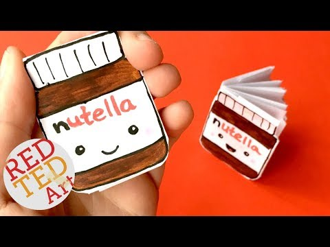 DIY Kawaii notebook of 1 sheet of paper - NO GLUE - Nutella Notebook DIY - Ideas for School
