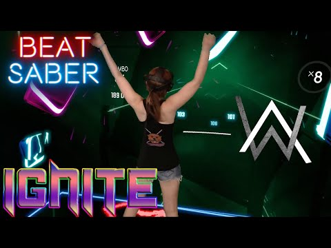 Beat Saber || Ignite by Alan Walker & K-391 (Expert+) First Attempt || Mixed Reality