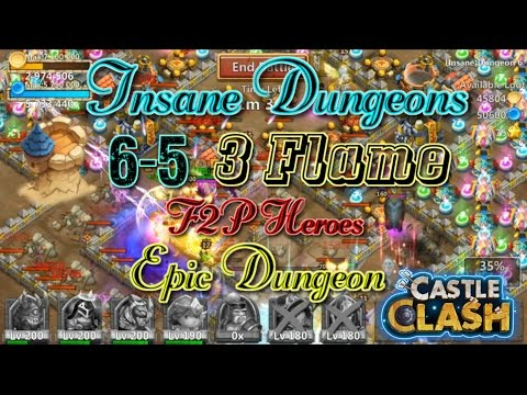 Castle Clash Insane Dungeon 6-5_ 3flame Anubis Strategy_ Without Mino_Epic Dungeon!
