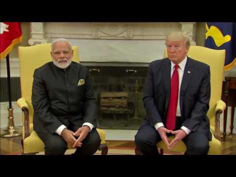 Trump greets Modi at White House