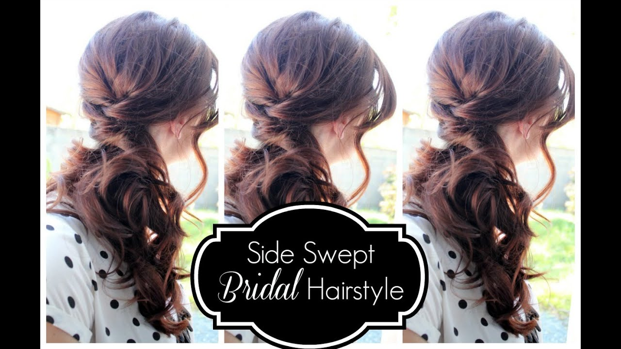 side swept bridal hairstyle