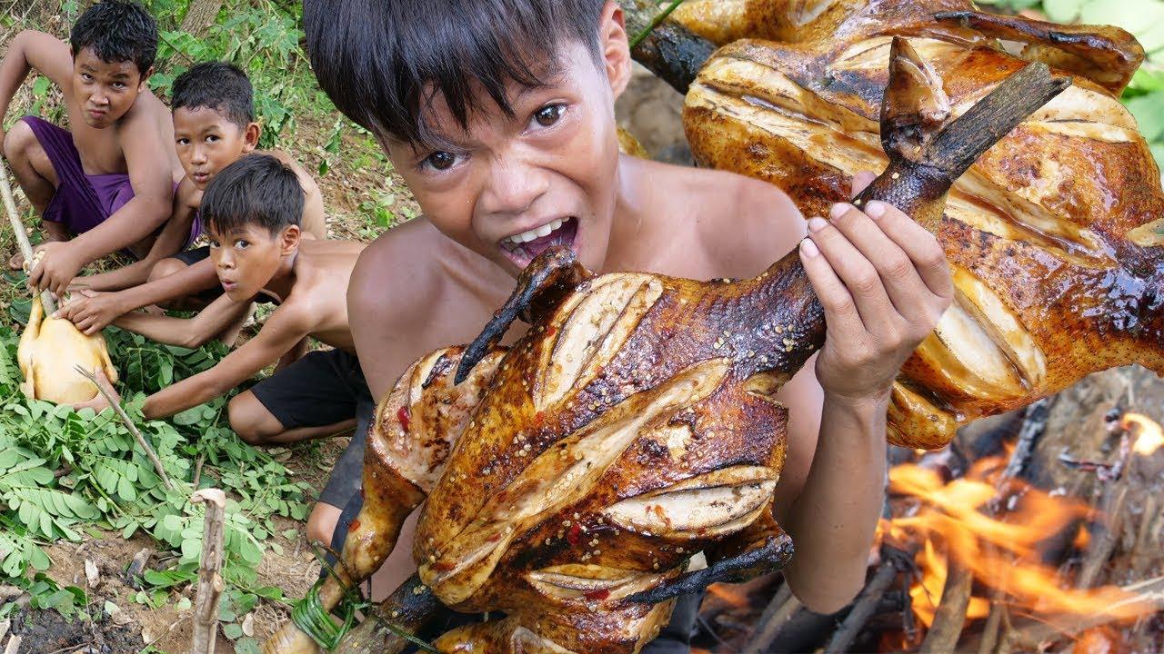 Kỹ năng sinh tồn | Công thức nướng gà ngon bí mật và ăn luôn giữa rừng