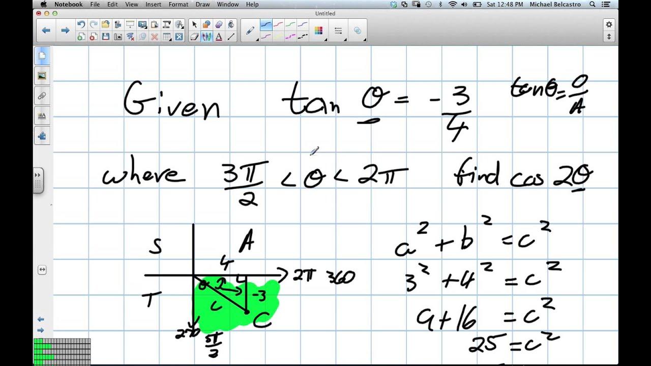 Double Angle Formulas Grade 12 Advanced Functions Lesson 7 3 12 15 12