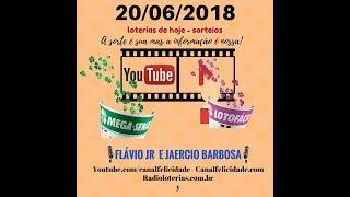 Resultados 20-06-2018 - Lotofacil 1678 - Mega Sena 2051 - ao vivo.