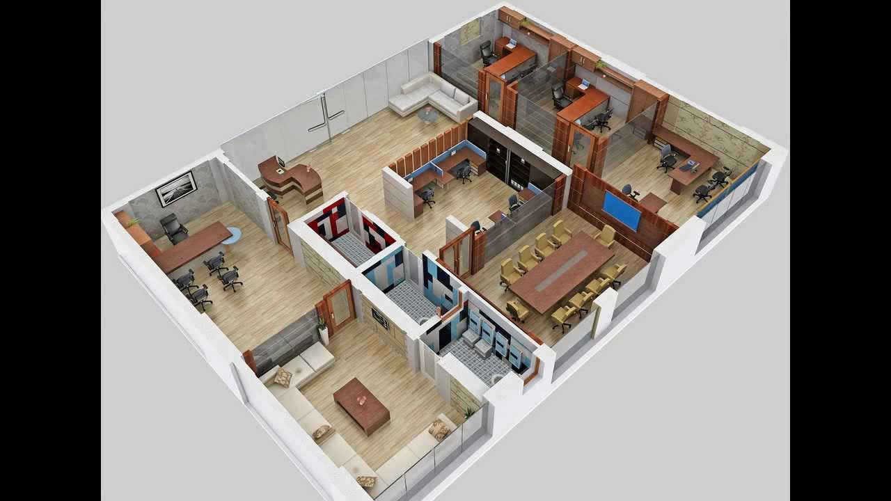Floor plan 3d office video vtarc youtube for Office design 3d