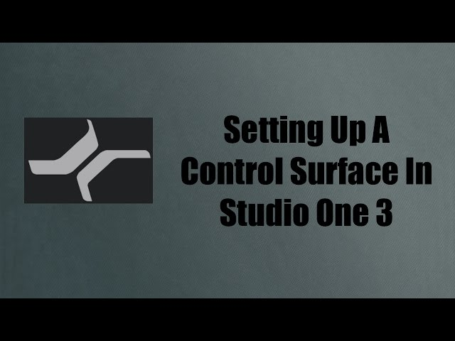 Setting Up A Control Surface In Studio One 3