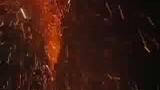 Flaming Elvis at night