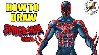 How to draw Spiderman 2099 step by step easy narrated drawing tutorial
